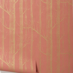 Woods Wallpaper, Coral - by Cole and Son - This wallpaper has been very popular for a very long time and has turned up in black and white in just about every room of the house. Now Cole and Son are shaking things up and offering it in this beautiful coral color. It's a game changer.