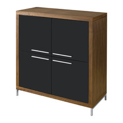 Silva Square Buffet, Walnut with Black Lacquer