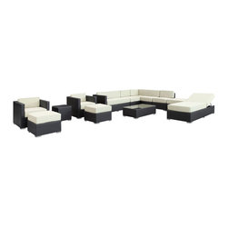 Modway - Fusion Sectional Set in Espresso White - Harmonious positioning lends grace to every gathering with this sprawling outdoor sectional set. Commingle as participants contribute individual strengths to combine into a collective powerhouse of perfection. Turn your surroundings into a sought after meeting place in this consummate arrangement of beauty.
