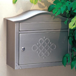 Peninsula Locking Wall-Mount Mailbox - With a curved top, rectangular body, corner embellishments and embossed door, the stainless steel Peninsula mailbox is loaded with character.