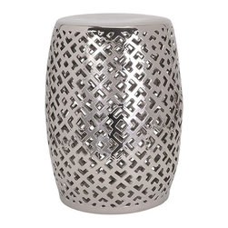 IMAX - Lexor Ceramic Stool - Take a seat on a silvered ceramic garden stool with a punched out and punched up geometric pattern that pretties up the place whether indoors or out.
