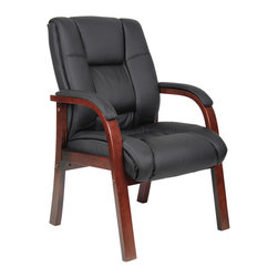 Boss Chairs - Boss Chairs Boss B8999-C Mid Back Wood Finished Guest Chairs - Beautifully upholstered with soft, durable and breathable Caressoft plus upholstery. Dacron filled top cushions with perforated centers. Cherry finished wood.