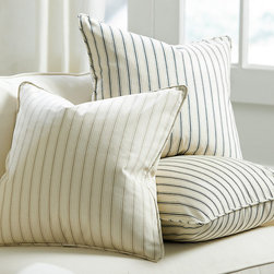 Ballard Designs - Vintage Ticking Stripe Pillow - Available in 3 colors. Plush feather down insert. Our Vintage Ticking Stripe Bedding has been such a hit, we're adding a decorative pillow so you can enjoy the classic look in any room. Hand finished in 100% cotton with self-piped seam and hidden zipper. Vintage Ticking Stripe Pillow features: . .