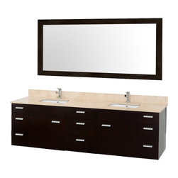 Wyndham Collection - 78 in. Bathroom Vanity Set in Espresso - Includes one bathroom vanity, two white porcelain undermount square sink, drain assemblies, P traps, 4 in. backsplash and large single accara mirror. Faucet not included. Ivory marble top. Two functional doors. Nine functional drawers. Plenty of counter space. 8 stage preparation, veneering and coloring process. Water resistant sealed color. Cutting edge and unique styling. Modern wall mount design. Fully extending under mount soft close drawer slides. Metal exterior hardware. Concealed soft close door hinges. Single hole faucet mount. Made from wood, marble and MDF. White and brushed chrome color. Minimal assembly required. Care Instruction. Vanity: 78 in. W x 22 in. D x 23.5 in. H. Mirror: 70 in. W x 33 in. H