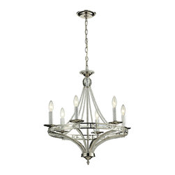 Elk Lighting - ELK Lighting  Aubree 6-Light Chandelier - This collection offers highly polished K9 crystal beads and rectangle crystals that capture the light in an unimaginable array of sparkling beauty. The machined aluminum candle covers capture light while the Polished Nickel finish bounces the shimmering l