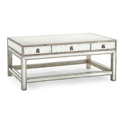 Kathy Kuo Home - Lago Hollywood Regency Silver Leaf Mirror 6 Drawer Coffee Table - Of all the criticism directed at coffee tables, being heavy is probably the most common.  In that case, there's really only one thing left to do: lighten it up!  This silver leaf eglomise mirror clad coffee table, replete with six clutter-busting drawers, is the lightest, brightest and prettiest example we've seen yet.