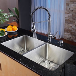 Kraus - Kraus KHU102-33-KPF1612-KSD30CH Double Basin Undermount Kitchen Sink with Faucet - Shop for Kitchen from Hayneedle.com! The sleek modern styling of the Kraus KHU102-33-KPF1612-KSD30CH Double Basin Undermount Kitchen Sink with Faucet offers a unique facelift to your kitchen set. Its high-arching faucet easily doubles as a strong sprayer to wash down dishes and produce with ease. You can get twice the work done thanks to the pair of large stainless steel basins.Product SpecificationsNumber of Basins: 2Bowl Depth (inches): 10Weight (pounds): 36Low Lead Compliant: YesEco Friendly: YesMade in the USA: YesHandle Style: LeverValve Type: Ceramic DiscFlow Rate (GPM): 2.2Spout Height (inches): 6.1Spout Reach (inches): 9.5About KrausWhen you shop Kraus you'll find a unique selection of designer pieces including vessel sinks and faucet combinations. Kraus incorporates its distinguished style with superior functionality and affordability while maintaining highest standards of quality in its vast product line. The designers at Kraus are continuously researching and exploring broader markets seeking new trends and styles. Additionally durability and reliability are vital components at Kraus for developing high-quality fixtures. Every model undergoes rigorous testing and inspection prior to distribution with customer satisfaction in mind. Step into the Kraus world of plumbing perfection. With supreme quality and unique designs you will reinvent how you see your bathroom decor. Let your imagination become reality!