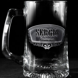 """Groomsmen Gift Ideas, Engraved Best Man Gifts - Groomsman beer mugs, Best Man beer mug, Usher and Groom beer mugs are custom personalized engraved groomsmen gifts with both the title of your groomsman and his name, making these beer glasses the perfect cool groomsmen gift idea. These groomsmen barware gifts are stunning with their deeply engraved background panel that is carved away to leave the words and design raised from the beer mug surface. Price break will be given as each item is added to the cart. First select the title, then insert the name and hit order. Then continue with each additional title and name and when each one is added to the cart, your quantity price break will activate, bringing the individual price per custom groomsman beer mug down. These beautifully carved wedding party beer mugs are truly a keepsake gift to show your appreciation to your groomsmen and best man and is perfect for use during the wedding reception and for that special toast to the bride and groom. These engraved best man beer mugs are an engraved groomsmen gift he will enjoy for years to come. Our 5.75"""" High, 3"""" wide, 15 oz beer mug is dishwasher safe."""