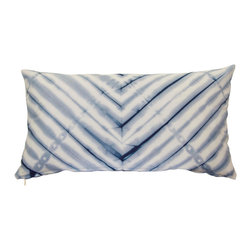 """The Tangled Path - Hand Dyed Shibori Cushion in Indigo Blue - This 12""""x22"""" pillow cover was dyed using indigo blue fiber reactive dyes in the shibori dye-resist tradition and features the same chevron design on both sides."""