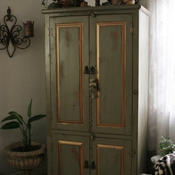 Painted Furniture Finishes & Faux Wood - Specialty faux / furniture finishes on Armoire to coordinate with fabrics and décor.  It's amazing what paints & glazings can do to transform cheap pine country-style furniture into Bohemian Chic!