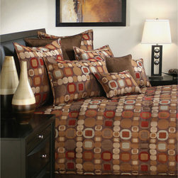Sherry Kline - Sherry Kline Metro Spice 4-piece Comforter Set - This Sherry Kline Metro Spice Four-piece Comforter Set features a poly yarn-dyed jacquard fabric. The comforter set features an eye-catching retro design with geometric shapes in color brown,tan,red,beige and apricot.