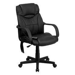Flash Furniture - Flash Furniture High Back Massaging Black Leather Executive Office Chair - Enjoy a relaxing massage in the comfort of your own office or home with this incredibly comfortable Massaging Executive Office Chair by Flash Furniture. The included remote has a variable slider intensity mode to get to your desired comfort level and has a designated side pocket when not in use. Chair features a high back contemporary design with soft leather upholstery and double padded seat and back. Get the most out of your next office chair with this Overstuffed Padded Executive Chair with included Massage feature.