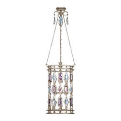 Fine Art Lamps - Encased Multi-colored Gems Lantern, 727440-1ST - Like fine jewelry, this ceiling-mount lantern will surely dazzle. Finished in vintage silver leaf, it features a multitude of encased crystal gems in clear or amethyst, tourmaline and aquamarine colors and holds six bulbs. It's a brilliant way to add sparkle and polish to your room.