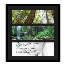 ArtToFrames - ArtToFrames Collage Photo Frame  with 3 - 8x24 Openings - This sleek Satin Black, 1.25 inch thick collage frame, comes equipped with a setup for 3 - 8x24 pictures of your choice. This collage is part of a selection collage frame collection and boasts a broad line of carefully constructed frames at a affordable price tag you can be happy about! Built from hand and created to outfit your pictures ensuring you 3 - 8x24 art will fit perfectly. Bordered in a bold Satin Black, flawless frame and surrounded by a sophisticated Black mat, the collage arrangement absolutely shows off your original photographs, and wonderful memories in an entirely incredible and fun way. This collage frame comes protected in Regular Plexi Glass, equipped with appropriate hardware and can be on display with ease. These premium quality and rustic wood-based collage frames differ in tone and size specifics; all in contemporary and modern design. Mats are available in a multitude of color tones, openings, and shapes. It's time to tell your story! Preserving your memories in an original and artistic brand-new way has never been easier.