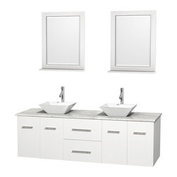 "Wyndham Collection - Centra Bathroom Vanity in White,WT  Carrera Top,Pyra White Sinks,24"" Mirs - Simplicity and elegance combine in the perfect lines of the Centra vanity by the Wyndham Collection. If cutting-edge contemporary design is your style then the Centra vanity is for you - modern, chic and built to last a lifetime. Available with green glass, pure white man-made stone, ivory marble or white carrera marble counters, with stunning vessel or undermount sink(s) and matching mirror(s). Featuring soft close door hinges, drawer glides, and meticulously finished with brushed chrome hardware. The attention to detail on this beautiful vanity is second to none."