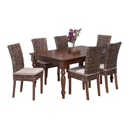 Jofran - Jofran 733-66 Urban Lodge 7-Piece Rectangle Dining Room Set with Rattan Chairs - Materials: Solid Asian hardwood.