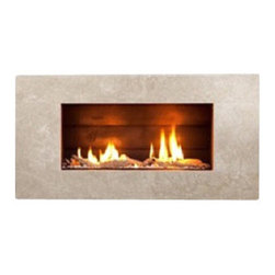 ESCEA - ESCEA Indoor Gas Cream Travertine Fireplace - Molaris Front, W/O Fuel Bed, W/O S - The ESCEA Indoor gas fireplace with the cream travertine Molaris fascia, is a sleek, contemporary style fireplace. Its low energy consumption makes it efficient and flexible. Compared to similar sized open fire it uses just a third of energy. Running completely silent this extra source of heat makes an ideal addition to any smaller room such as offices, home theaters or bedrooms. The direct vent technology ensures the fireplace will not impact on room air quality.