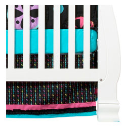 "Magical Michayla - Crib Bed Skirt - Bed skirt showcases ""Magical Michayla"" magic rows cotton print fabric trimmed in pink, black and turquoise fabric creating a simplistic detail to final touches on this collection.  Also available in sets!"