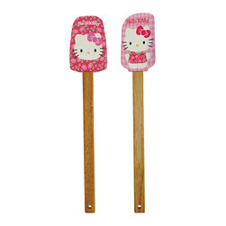 Hello Kitty - Hello Kitty Daisy Spatula Set - Bring some Hello Kitty cheer to your baking projects with these Hello Kitty spatulas.   Includes two spatulas 12'' L Silicone / wood Removable silicone head: dishwasher-safe Imported