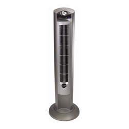 Lasko - 42 in. Wind Curve Tower Fan - Includes multi-functional remote control. Sophisticated wind curve profile fresh air ionizer. Three quiet speeds. Wide area oscillation. Easy-carry handle for portability. High-reaching tower design for maximum air delivery. Convenient electronic timer set from 0.5 - 7.5 hoursThe Wind Curve Platinum with Remote Control and Fresh Air Ionizer is a top performer. This tall, gracefully sleek fan complements your decor while adding cooling comfort to home or office. With three speed settings it efficiently provides a gentle breeze throughout a room. The fan with a remote control that stores in a recess in the back, adjustable louvers in the front grill to control the direction of the air stream.