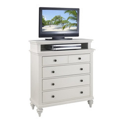 Home Styles - Home Styles Bermuda TV Media Chest in Brushed White Finish - Home Styles - TV Stands - 5543041 - Inspired by the fusion of British traditional and old world tropical design the Bermuda Collection highlights Mahogany solids and engineered woods Brushed White finish.   Deep Textured brushed stroke finish enhances the overall beauty of this luster white finish. Further inspiration can be found in the shutter style design and turned feet. Media Chest features four storage drawers with the top storage drawer lined in black felt. Size: 36w 18d 42h. Antique Brushed Nickel Hardware.