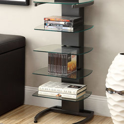 Coaster - Bookshelf, Gunmetal - This modern bookshelf is great for small spaces. Featuring five glass shelves and a gunmetal finish.