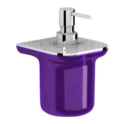 Gedy - Glamorous Wall-Mounted Soap Dispenser, Transparent Lilac/Chrome - Keep your master bath looking modern & contemporary with this quality wall mounted liquid soap dispenser from the Gedy Bijou collection.