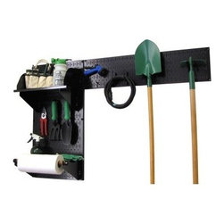 Wall Control Pegboard Garden Tool Board Organizer Kit - Black - The Wall Control Pegboard Garden Tool Board Organizer Kit - Black makes a perfect complement to your already-installed pegboard storage unit. Keep your garden tools separate and organized with this convenient kit. Its two pegboard panels mount to any wall in minutes with the included installation hardware, each made from solid 20-gauge steel and featuring a black powder-coated, scratch-resistant finish. Both a 9-inch shelf with dividers and a 4-inch shelf with a dowel assembly are included, along with a starter pack of assorted hooks (included 2 handle hooks and 2 U hooks). The accessories are available in your choice of black, red, blue, or white. Tools are not included.About Wall Control For over a decade, Wall Control have provided home handymen and do-it-yourselfers with simple, easy-to-install wall storage available in a variety of colors and styles to suit any room in your home. Domestically based in Tucker, Georgia, Wall Control ensures quality American craftsmanship that's guaranteed to last a lifetime and looks great while doing so. Its patented designs are here to make your life easier, made from sturdy materials that let you customize any room in your home the way you see fit.