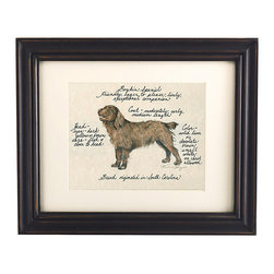 Ballard Designs - Boykin Spaniel Dog Print - Our Boykin Spaniel Dog Print was created by the dog-loving, husband and wife team of Vivienne and Sponge. The Boykin Spaniel is known for being eager to please, lively and an exceptional companion. Each Boykin Spaniel portrait is hand colored and embellished with notes on the breed's special characteristics. Printed on antiqued parchment, signed by the artists and framed in antique black wood with eggshell mat and glass front. Boykin Spaniel Dog Print features:Hand colored & signed . Printed on parchment. Eggshell mat. Antique black frame
