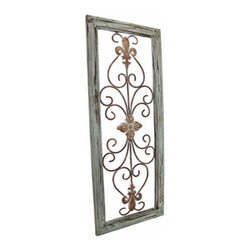 Distressed Wooden Green Frame Wrought Iron Fleur de Lis Wall Decor 30 X 12 In. - The antique distressed wood and rusted metal accents of this fleur de lis wall decor speak of a long glorious life on the Champs-Elysees. Now, this beautiful piece of wrought iron art can be displayed in your own home. A single metal wall hanger on the reverse of the distressed light green wooden frame allows it to hang vertically from a single nail or wall hook. The metal wall hanger may be easily unscrewed and repositioned to hang horizontally. The remarkable frame measures 30 inches tall, 12 inches wide, and 1 inch deep. This classic piece is an excellent cultural home accent that would look decidedly elegant in any setting.