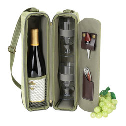 Picnic At Ascot - Sunset Wine Carrier for 2, Olive Tweed - Top quality deluxe wine holder with glasses featuring state of the art Thermal Shield™ insulation cooler to maintain wine at the perfect temperature.  Glass compartment can be used to hold a second bottle.  Contains two glasses, napkins, corkscrew and wine stopper.  Adjustable shoulder strap. This stylish gift will always impress.