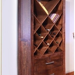 Artisan Home Furniture - Artisan Monte Carlo Bookcase & Wine Rack - Featuring mango wood  and solid wood construction. Hand distressed wood features multi -step  chocolate finish.  . Mortise and tenon case construction on all pieces. Comfortable counter-height dining offers extra storage with bottom shelf Bonded leather on seats. Cocktail table features extra storage under lift-tops. Bookcase/ Wine rack features a contemporary diagonal design that may hold either bookcases and/or bottles and two deep drawers. Hand distressed wood features multi -step  chocolate finish.�