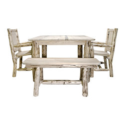 """Montana Woodworks - Montana Woodworks 4-Piece 4-Post Square Dining Room Set in Clear Lacquer - A vastly popular size of the classic Montana Woodworks full sized four post table, this 45"""" square version offers all the rustic charm and durability in a smaller package. Combine with the Montana Woodworks side chairs, captains chairs or the new 45"""" plank style bench for just the right seating style. Some assembly required. All Montana Woodworks products come with a 20-year limited warranty at no additional charge."""