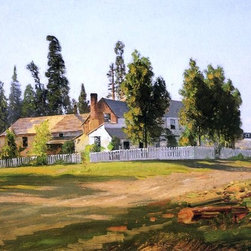 """Thomas Hill Sisson's Inn, near Mount Shasta - 16"""" x 24"""" Premium Archival Print - 16"""" x 24"""" Thomas Hill Sisson's Inn, near Mount Shasta premium archival print reproduced to meet museum quality standards. Our museum quality archival prints are produced using high-precision print technology for a more accurate reproduction printed on high quality, heavyweight matte presentation paper with fade-resistant, archival inks. Our progressive business model allows us to offer works of art to you at the best wholesale pricing, significantly less than art gallery prices, affordable to all. This line of artwork is produced with extra white border space (if you choose to have it framed, for your framer to work with to frame properly or utilize a larger mat and/or frame).  We present a comprehensive collection of exceptional art reproductions byThomas Hill."""