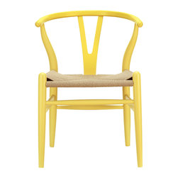 Woven Shaker Chair in Yellow - Marrying spartan-lined wood with modern design, this Woven Shaker Chair makes a great match with a rustic harvest table or modern dining table. The tightly woven seat and simple, sturdy foundation make the chair a must-have for any modern home.