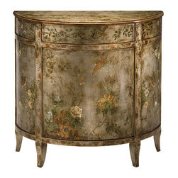 "Inviting Home - Hand-Painted Antiqued Cabinet - Hand-painted half-round cabinet with floral and bird design on an antiqued silver background one door one drawer and antiqued brass hardware 34""W x 17""D x 32 3/4""H Hand-crafted antiqued cabinet. This unique cabinet is hand-painted with floral and bird design on an antique silver background. Hand painted cabinet has one door one drawer and brass hardware in antique finish."