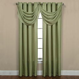 None - Sutton Grommet Celery Waterfall Valance - This Sutton Grommet Celery Waterfall Valance can have a dressy or casual look. Have an informal look with the panels only or add more drama with one or more waterfall valances. The waterfall valance is available in one size.
