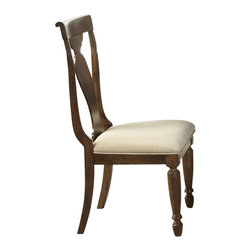 Liberty Furniture - Liberty Furniture Rustic Tradition Splat Back Side Chair in Cherry, Medium Wood - Todays traditional has a more casual feel and this is mostly achieved through well, worn, rustic finishes. Rustic traditions is the heirloom quality Louis Philippe design with a burnished, rasped, rustic cherry finish. Cases feature chamfered pilasters, bun feet, drop ring and key hardware in an antique brass. Dining features two table options that work for smaller or larger scale areas. Beautiful shaped splat back chairs featured upholstered seats in a flax chenille. What's included: Side Chair (can only be purchased in sets of 2).