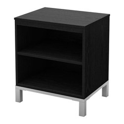 South Shore - South Shore Flexible Nightstand in Black Oak - South Shore - Kids Night Stands - 3347059 - This Flexible Nightstand will blend well in any contemporary decor due to its Black Oak finish and matte metallic legs._� Mix and match it with other items of the Flexible collection to customize your living areas according to your tastes and needs. Designed to be placed side by side the many possible combinations meet all sorts of requirements and can create perfectly tailored spaces. Whether it's in the bedroom the living room or the playroom every items of this collection has a place in your home. Back is unfinished.