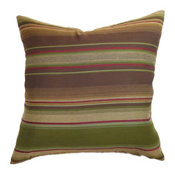 """The Pillow Collection - Neville Stripes Pillow Brown/Olive - Make a lodge theme style in your home or office with this stripes throw pillow. This accent pillow features bold horizontal stripes in brown and olive color combination. The rich colors of green, brown and red creates a beautiful stripe print pattern. This decor pillow is a great accent piece that you can add to your collection. This stylish and warm 18"""" pillow is made from durable materials in 70% silk and 30% acrylic fabric. Hidden zipper closure for easy cover removal.  Knife edge finish on all four sides.  Reversible pillow with the same fabric on the back side.  Spot cleaning suggested."""