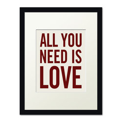 Keep Calm Collection - All You Need Is Love, black frame (antique white) - This item is an Art Print which means it is a higher-quality art reproduction than a typical poster. Art prints are usually printed on thicker paper, resulting in a high quality finish. This print is produced on a 270 gsm fine art paper stock.