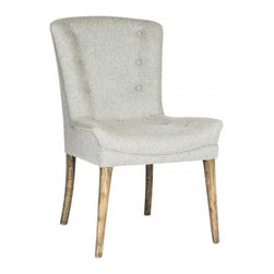 "Aidan Gray - AG Hom Fisher Dining Chair Set of 2 - The Aidan Gray Hom Fisher chair introduces a mod aesthetic to the table. Its simple silhouette and sleek exposed legs update the button-tufted design. 33.5""W x 30.5""D x 40""H; Set of 2; Lamont oak finish; Bates gray wool & nylon upholstery; Handmade; Finish variations may occur"