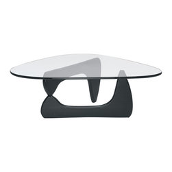 Lemoderno - Tribeca Coffee Table By Lamoderno, Black Solid Wood Base - This table consists of three basic parts: a beautiful glass top and two interlocking solid wood base pieces. This classic design was first produced in 1944. This item is a high quality reproduction of the original.