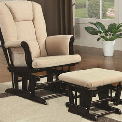 None - Savus Glider Rocker Ottoman Set - A hanging bag keeps magazines,books,remotes and eyeglasses close at hand for added convenience. This beautiful set will bring a distinctive style and unsurpassed comfort into your home.