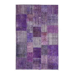 """Pre-owned Warm Purple Overdyed Turkish Patchwork Carpet - Traditional Turkish patterns from an assortment of vintage pieces mix to make this hand made, naturally distressed vintage rug. Full cotton backing and decorative blanket stitch edging.    Remnants of vintage wool on a cotton warp, made entirely by hand in the '60's through '80's when Turkish women still included weaving in their daily homemaking chores. Employing the sturdy double knot technique unique to Turkish rugs, multicolor floral and medallion motifs were created a row at a time using bright hand dyed wools. Considered too old fashioned for modern Turkish homes in their traditional incarnations, these rugs have languished in back rooms of the bazaars‰Ű_until now, as these fragments in excellent condition are overdyed and combined to create modern patchwork statements for the floor.    Note from the seller: """"Our revitalization process keeps rugs that may otherwise get tossed out of landfill. Repurposed discards are helping artisans connect and create, supporting the community we're building here in Istanbul to revive vanishing traditional fiber crafts.‰Űť    Please note that all sales are final - These amazing rugs are coming direct from Istanbul, Turkey and returns will not be allowed."""