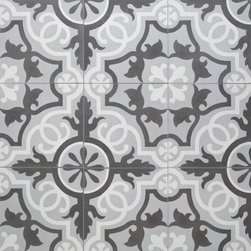 Sabine Hill - Cement Encaustic Tile - Sevilla shown in White, Grey & Charcoal lends a modern feel to a traditional pattern concrete tile. Use as entire kitchen floor or backsplash.