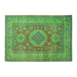 1800-Get-A-Rug - Hand Knotted Light Green Overdyed Kazak 100% Wool Oriental Rug Sh15076 - Our Tribal & Geometric Collection consists of classic rugs woven with geometric patterns based on traditional tribal motifs. You will find Kazak rugs and flat-woven Kilims with centuries-old classic Turkish, Persian, Caucasian and Armenian patterns. The collection also includes the antique, finely-woven Serapi Heriz, the Mamluk Afghan, and the traditional village Persian rug.