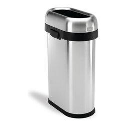 simplehuman - simplehuman Slim Open Brushed Stainless Steel Trash Can - Throw away trash without making a mess with this 13-gallon stainless steel trash can by Simplehuman. With a lift-off lid and side handles, this product is easy to move and empty. This convenient trash can has a non-skid base and a slim shape.