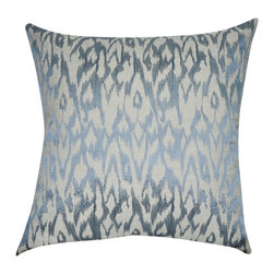 "Loom and Mill - Loom and Mill P0196-2121P 21"" x 21"" Blue Stripe Decorative Pillow - Combining Ikat with an edgy design, this blue embroidered decorative pillow is a must have. Its excellence in construction and soft fill make this pillow a fabulous and comfortable addition to your home decor.  Spot clean only."