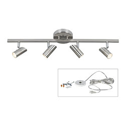 """ProTrack - Contemporary Pro Track Julian Plug-In Halogen Track Light - From Pro Track this contemporary design allows you to add bright lighting just about anywhere in your home. The track fixture features four adjustable heads with halogen bulbs. It's been paired with an easy to use DIY kit that converts it into a plug-in light. You can mount it on the ceiling in places where you don't have a junction box or wall mount for use as a picture light or to illuminate hallways walk-in closets and more. The kit comes with a white finish electrical box that installs on the wall or ceiling; you then mount the LED fixture to the box plug-in and enjoy. Track light is in a brushed steel finish with four adjustable lights.  Pro Track Julian Plug-In Halogen Track Light.  Easy to use DIY plug-in conversion kit.   Brushed steel finish.   Includes four 40 watt G9 bulbs.  15-foot clear plastic cord and plug.   White on-off cord switch.   Comes with mounting hardware; 2 toggle bolts and screws 2 wood screws 2 wire connectors.   Design by Pro-Track® Lighting.   27"""" wide.  6"""" high.   Heads are 3 1/4"""" high x 1 1/2"""" wide.   Canopy is 4 3/4"""" wide x 1"""" high."""